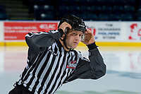 KELOWNA, CANADA - APRIL 14: Linesman Dustin Minty warms up on the ice at the Kelowna Rockets as they take on the Portland Winterhawks on April 14, 2017 at Prospera Place in Kelowna, British Columbia, Canada.  (Photo by Marissa Baecker/Shoot the Breeze)  *** Local Caption ***