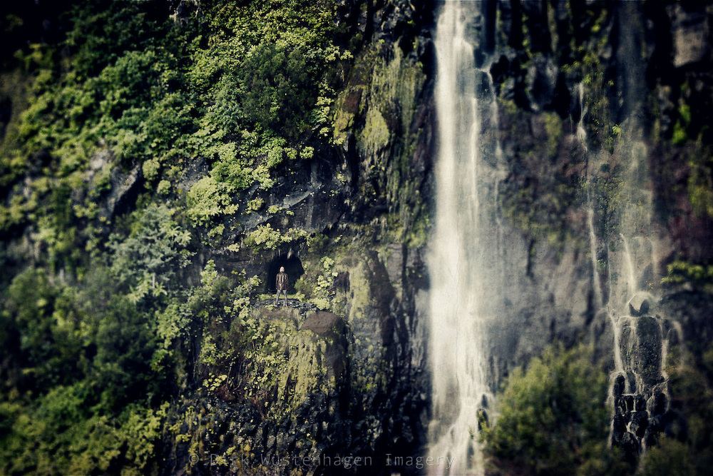 Waterfalls on the island of Madeira/Portugal. You can also see the entrance to a tunnel<br />