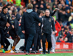 LIVERPOOL, ENGLAND - Saturday, January 28, 2017: Wolverhampton Wanderers' Paul Lambert shakes hands with Liverpool's manager Jürgen Klopp after the FA Cup 4th Round match at Anfield. (Pic by David Rawcliffe/Propaganda)