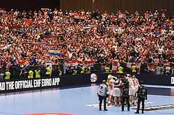 Croatian players are celebrating the win after the handball match between National teams of Serbia and Croatia in Group A of Men's EHF EURO 2020 on January 13, 2020 in Stadhalle Graz, Graz, Austria