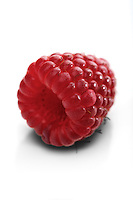 Raspberries on white backbround - close-up