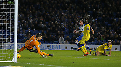 Tomer Hemed of Brighton and Hove Albion scores to make it 3-0 - Mandatory byline: Paul Terry/JMP - 29/02/2016 - FOOTBALL - Falmer Stadium - Brighton, England - Brighton v Leeds United - Sky Bet Championship