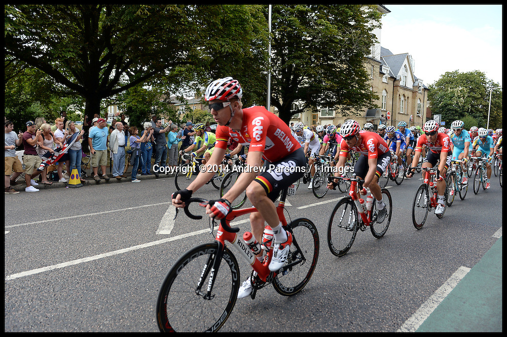 Image ©Licensed to i-Images Picture Agency. 07/07/2014. London, United Kingdom. Riders pass Woodford Green in London on their way to the Mall on stage 3 of the final UK leg of Tour de France. Picture by Andrew Parsons / i-Images