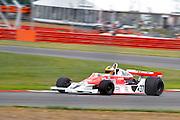 Car No 37 heads around Luffield. Silverstone Classic - 66-85 F1- 25/7/10.