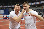 Mar 5, 2017; Belgrade, Serbia; Piotr Lisek (left) and Pawel Wojciechowski (POL) pose after placing first and third in the pole vault during the 34th European Indoor Championships at Kombank Arena. (Jiro Mochizuki/Image of Sport)