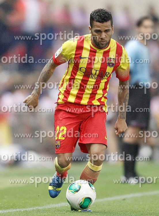 21.08.2013, Estadio Vicente Calderon, Madrid, ESP, Supercup, Atletico Madrid vs FC Barcelona, im Bild FC Barcelona's Daniel Alves // during during the Spanish Supercup match between Club Atletico de Madrid and Barcelona FC at the Estadio Vicente Calderon, Madrid, Spain on 2013/08/21. EXPA Pictures &copy; 2013, PhotoCredit: EXPA/ Alterphotos/ Acero<br /> <br /> ***** ATTENTION - OUT OF ESP and SUI *****