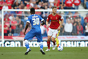 defender Matt Mills of Nottingham Forest on the ball during the Sky Bet Championship match between Brighton and Hove Albion and Nottingham Forest at The American Express Community Stadium, Brighton and Hove, England on 7 August 2015. Photo by Phil Duncan.