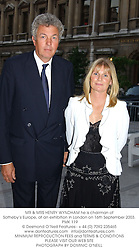 MR & MRS HENRY WYNDHAM he is chairman of Sotheby's Europe, at an exhibition in London on 16th September 2003.PMK 119