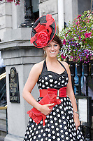 Michelle Heaney from Donegal Town at Hotel Meyrick in Eyre Sq. Galway for their best dressed Lady Competition during Galway's Race week . Photo:Andrew Downes