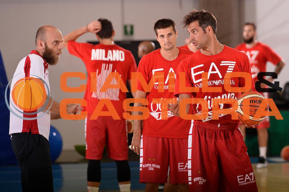 Bruno Cerella Massimo Cancellieri <br /> EA7 Emporio Armani Olimpia Milano allenamento<br /> Lega Basket Serie A 2016/2017<br /> Bormio 03/09/2016<br /> Foto Ciamillo-Castoria