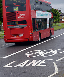© Licensed to London News Pictures. 16/07/2012. London, UK. Traffic next to an Olympic lane on July 16, 2012. Journeys for Olympic officials and athletes into central London are intended to be eased by the Olympic lane on the M4 motorway and surrounding routes from Heathrow airport. Photo credit : Stephen Simpson/LNP