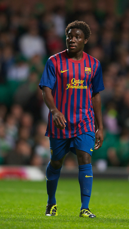 GLASGOW, SCOTLAND - Wednesday, August 31, 2011: FC Barcelona's Jean Marie Dongou during the NextGen Series Group 1 match against Glasgow Celtic at Celtic Park. (Pic by Mark Runnacles/Propaganda)