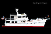Vector rendering of the Kadey-Krogen 64 foot expedition series motoryacht.  The Krogen 64 is shown with a white hull