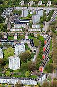 Nederland, Zuid-Holland, Den Haag, 09-05-2013; Mariahoeve, nieuwbouwwijk uit de jaren zestig ('60) van de vorige eeuw. Nadrukkelijke  wegenstructuur met hoofdverkeerswegen en ontsluitingswegen, verdeelt de wijk in buurten met verschillende woningtypes en overvloedige openbaar groen. Wederopbouwgebied.<br /> New residential area built in the sixties,  The structure of the roads divides the district into neighborhoods with different housing types and many public green areas.<br /> luchtfoto (toeslag op standard tarieven)<br /> aerial photo (additional fee required)<br /> copyright foto/photo Siebe Swart
