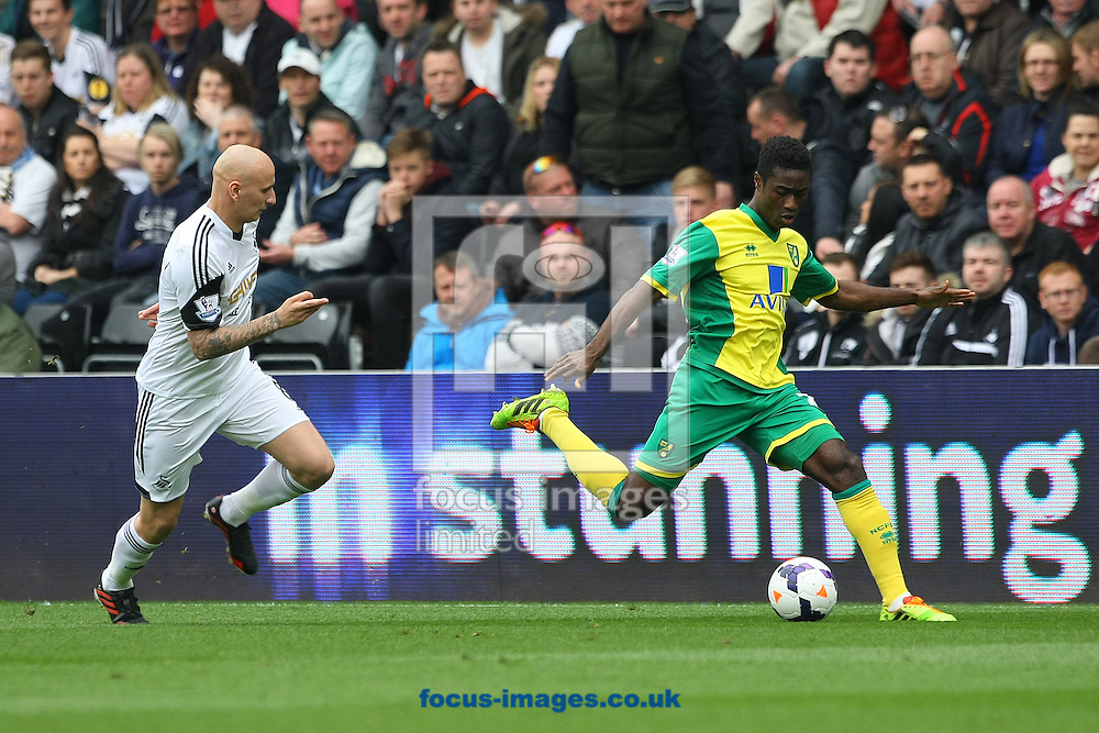Alexander Tettey of Norwich and Jonjo Shelvey of Swansea in action during the Barclays Premier League match at the Liberty Stadium, Swansea<br /> Picture by Paul Chesterton/Focus Images Ltd +44 7904 640267<br /> 29/03/2014