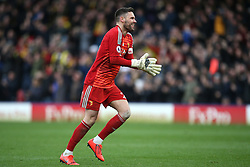 Watford goalkeeper Ben Foster celebrates after Andre Gray scores his sides second goal of the game during the Premier League match at Vicarage Road, Watford.