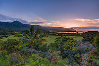 Sunset on Kaua'i Hawai'i looking west across Hanalei valley and Hanalei Bay