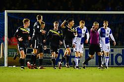 Ian Henderson of Rochdale celebrates scoring a goal with team mates - Mandatory by-line: Dougie Allward/JMP - 13/02/2018 - FOOTBALL - Memorial Stadium - Bristol, England - Bristol Rovers v Rochdale - Sky Bet League One