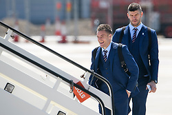 © Licensed to London News Pictures. 06/06/2016. Luton, UK. JAMIE VARDY And FRAZER FOSTER join other members of England national football squad as they board a plane at Luton airport in Bedfordshire, England, to head for their training camp in France, ahead of the start of the UEFA Euro 2016 championships.  Photo credit: Ben Cawthra/LNP