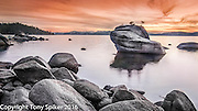 Bonsai Rock Sunset 1 - A panoramic photograph of sunset over Lake Tahoe at Bonsai Rock