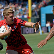 Wales' Tom Glyn Williams scores in Extra Time to put away Manu Samoa 24-19 at Day 2 of the World Cup 7's USA, AT&T Park, San Francisco, California, USA.  Photo by Barry Markowitz, 7/21/18, 3:30pm