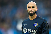 Willy Caballero (GK) (Chelsea) warming up ahead the Premier League match between Brighton and Hove Albion and Chelsea at the American Express Community Stadium, Brighton and Hove, England on 1 January 2020.
