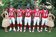 KO OLINA - FEBRUARY 10:  Kansas City Chiefs 2005 NFL Pro Bowl AFC All-Stars (left to right: Tony Gonzalez #88, Tony Richardson #49, Will Shields #68, Kendall Gammon #83, and Brian Waters #54) pose with Hawaiian Hula girls for their 2005 NFL Pro Bowl team photo on February 10, 2005 in Ko Olina, Hawaii. ©Paul Anthony Spinelli