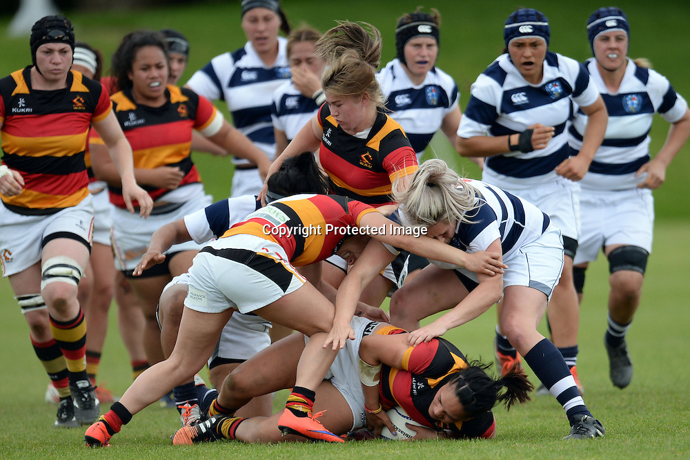 Strong defense from Auckland Storm in display during the Women's Rugby NPC Semi Final, Auckland Storm v Waikato. Auckland, New Zealand on Saturday 10 October 2015. Copyright Photo: Raghavan Venugopal / www.photosport.nz