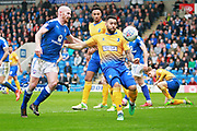 Mansfield Town forward Kane Hemmings (23) clears during the EFL Sky Bet League 2 match between Chesterfield and Mansfield Town at the Proact stadium, Chesterfield, England on 14 A pril 2018. Picture by Nigel Cole.