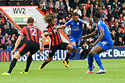 Nathan Ake (5) of AFC Bournemouth goes to challenge Riyad Mahrez (26) of Leicester City during the Premier League match between Bournemouth and Leicester City at the Vitality Stadium, Bournemouth, England on 30 September 2017. Photo by Graham Hunt.