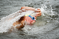 Repro Free: 18/08/2012.Paul Emmett of the Half Moon Swimming Club, the oldest competitor in the 92nd Dublin City Liffey Swim, sponsored by Dublin City Council. Picture Jason Clarke Photography.