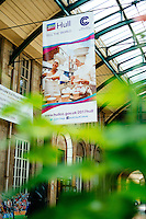 Hull Paragon Station, Kingston Upon Hull, East Yorkshire, United Kingdom, 11 July, 2014. Pictured: City of Culture Banners