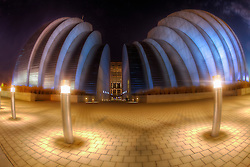 Kansas City's Kauffman Center for the Performing Arts lit in Royal Blue for the Kansas City Royals 2014 World Series run.