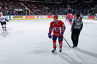 KELOWNA, CANADA - MARCH 13:  Luke Toporowski #22 of the Spokane Chiefs celebrates an unassisted first period goal against the Kelowna Rockets on March 13, 2019 at Prospera Place in Kelowna, British Columbia, Canada.  (Photo by Marissa Baecker/Shoot the Breeze)