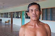Iban longhouse buit 1980's housing 150 people in 14 families, Sumbiling Lama, Temburong, Brunei