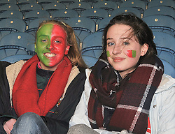 Well wrapped supporters Ciara Carr and Mia Ward look out on the action at McHale Park on saturday evening as Mayo took on the Dubs. <br /> Pic Conor McKeown