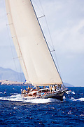 Hetarios sailing in the 2010 St. Barth's Bucket superyacht regatta, race 2.