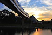 The monorail circumnavigates Epcot's Future World at Walt Disney World.