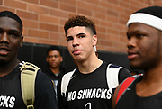 No Shnacks Guard LaMelo Ball (1) walks on the court during a Drew League basketball game, Saturday, June 15, 2019, in Los Angeles.  (Dylan Stewart/Image of Sport)
