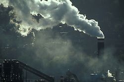 Factory chimneys in residential area; Hexham; Northumberland; NE England