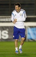 Lionel Messi (captain) of Argentina laughs during training during the Argentina training session at the Est&aacute;dio S&atilde;o Janu&aacute;rio, Rio de Janeiro, ahead of tomorrow's World Cup Final.<br /> Picture by Andrew Tobin/Focus Images Ltd +44 7710 761829<br /> 12/07/2014
