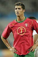 20040812: ATHENS, GREECE: In its first Olympic competition since its country was shattered by war, Iraq defeated Portugal 4-2 on 12 August in Patras as about 200 chanting fans cheered and jumped widly. In photo: Portuguese player Cristiano Ronaldo.<br /> <br /> There are five portuguese nominees for the Golden Ball Awards 2004: Deco (Portugal - Barcelona, Spain), Luis Figo (Portugal - Real Madrid, Spain), Maniche (Portugal - Porto, Portugal), Ricardo Carvalho (Portugal - Chelsea, England) and Cristiano Ronaldo (Portugal - Manchester United, England).<br /> PHOTO: NIVIERE/DPPI/CITYFILES