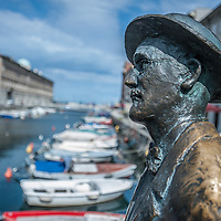 James Joyce's statue on the literary trail on the Gran Canale in Trieste, Italy