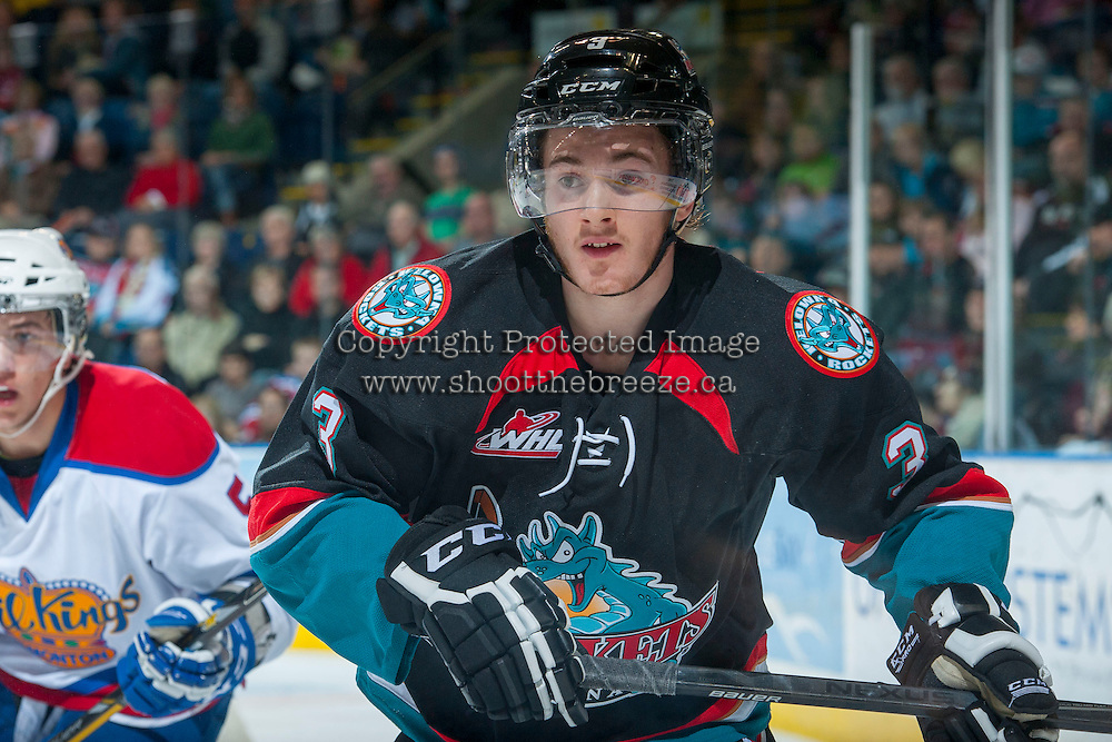 KELOWNA, CANADA - NOVEMBER 9: Riley Stadel #3 of the Kelowna Rockets skates against the Edmonton Oil Kings on November 9, 2013 at Prospera Place in Kelowna, British Columbia, Canada.   (Photo by Marissa Baecker/Shoot the Breeze)  ***  Local Caption  ***