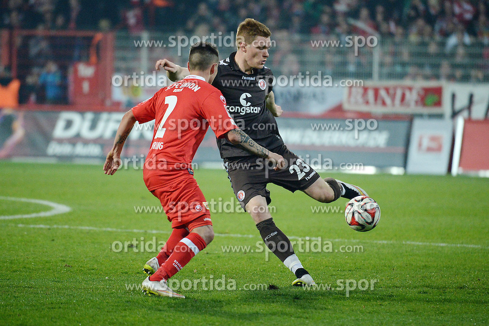 20.03.2015, Alte Foersterei, Berlin, GER, 2. FBL, 1. FC Union Berlin vs FC St. Pauli, 26. Runde, im Bild vl. Quiring Christopher ( FC Union Berlin ) und Halstenberg Marcel( FC St. Pauli ) // during the 2nd German Bundesliga 26th round match between 1. FC Union Berlin and FC St. Pauli at the Alte Foersterei in Berlin, Germany on 2015/03/20. EXPA Pictures &copy; 2015, PhotoCredit: EXPA/ Eibner-Pressefoto/ Vallejos<br /> <br /> *****ATTENTION - OUT of GER*****