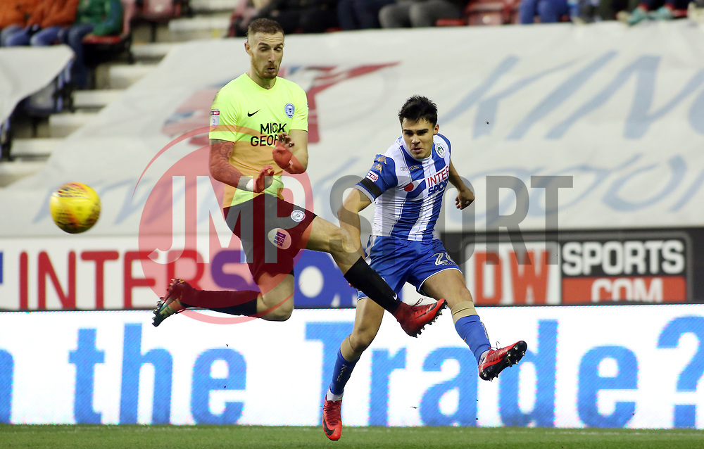 Marcus Maddison of Peterborough United closes down Reece James of Wigan Athletic - Mandatory by-line: Joe Dent/JMP - 13/01/2018 - FOOTBALL - DW Stadium - Wigan, England - Wigan Athletic v Peterborough United - Sky Bet League One