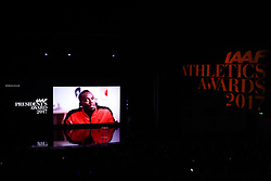 LARVOTTO, Nov. 25, 2017  Jamaican sprinter Usain Bolt is seen on a video address during the awarding ceremony of IAAF Athletics Awards 2017 in Larvotto, Monaco on Nov. 24, 2017. Usain Bolt won the IAAF President's Award 2017. (Credit Image: © Chen Yichen/Xinhua via ZUMA Wire)