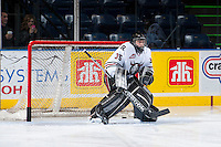 KELOWNA, CANADA - NOVEMBER 6: Patrik Bartosak #35 of the Red Deer Rebels warms up in net against the Kelowna Rockets on NOVEMBER 6, 2013 at Prospera Place in Kelowna, British Columbia, Canada.   (Photo by Marissa Baecker/Shoot the Breeze)  ***  Local Caption  ***