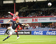 Dundee's Carlo Monti heads past Rangers' keeper Cammy Bell but narrowly wide of the target - Dundee v Rangers, pre-season friendly at Dens Park <br /> <br />  - © David Young - www.davidyoungphoto.co.uk - email: davidyoungphoto@gmail.com