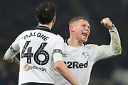Celebrations as Derby County  defender Scott Malone scores Derby's second goal during the EFL Sky Bet Championship match between Derby County and Wigan Athletic at the Pride Park, Derby, England on 5 March 2019.